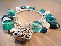 'Sea Breeze' aqua charm bracelet
