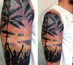 Wonderful looking beach tattoo on the arm. Vibrant and lively, the design depicts the beach as that since you can see people enjoying themselves and partying on the beach.