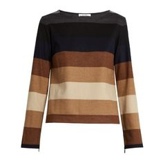 Max Mara Austria sweater ($595) ❤ liked on Polyvore featuring tops, sweaters, tan multi, striped top, brown striped sweater, lightweight sweaters, stripe sweater and zipper sweater