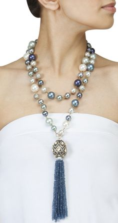 Long pearl necklace with tassel by ROHITA AND DEEPA. Shop at https://www.perniaspopupshop.com/whats-new/rohita-and-deepa-23