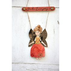 """Angel paper doll """"Smile everyday romantic door hanging, shabby door... (€26) ❤ liked on Polyvore featuring home, home decor, holiday decorations, door signs, fairy home decor and holiday door decorations"""