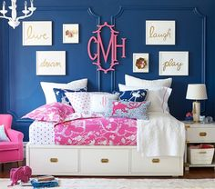 love the navy, hot pink and white together with the campaign dresser details. Chinoiserie Duvet Cover | Pottery Barn Kids