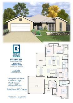 The Danube 3 Bedroom Plan, 4 Bedroom House Plans, Dream House Plans, House Floor Plans, Dream Homes, My Dream Home, Two Story Homes, Australian Homes, Story House