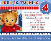 Cute Daniel Tiger's Neighborhood Digital Birthday Party Invitation/ Ticket Style, DIY Print. $9.99, via Etsy.