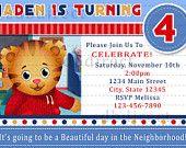 Cute Daniel Tiger's Neighborhood Digital Birthday Party Invitation/ Ticket Style, DIY Print. $9.99, via Etsy.