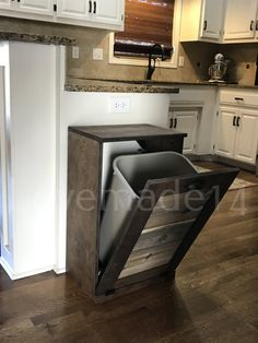 Our new site can be found at: www.lovemade14.com Please dont buy this just by looking at pictures. Read the listing. We want you to be happy with your purchase and have no surprises when your new trash cabinet arrives! COLOR: The color of this bin is Minwax dark walnut. The best way to