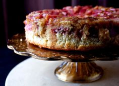 Take advantage of rhubarb season with this easy dessert Baked and unmolded, this cake resembles a pale pink mosaic atop velvet-crumbed and vanilla-infused cake The rhubarb, which you'll add in raw, is tangy and tender, firm enough to give you something to chew over