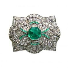 1930's Emerald and Diamond Art Deco Pin