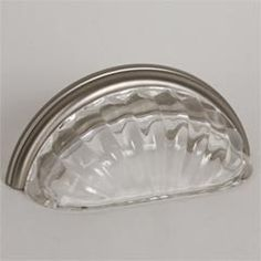 """Lew's Hardware [46-101] Glass Cabinet Cup Pull - Melon - Transparent Clear - Brushed Nickel Base - 3"""" C/C - 3 3/4"""" L"""