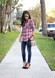 flannel and heels