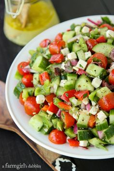 Greek Chopped Salad – afarmgirlsdabbles… - up Greek Recipes, Paleo Recipes, Cooking Recipes, Salad Recipes No Meat, Avocado Recipes, Cooking Tips, Healthy Salads, Healthy Eating, Clean Eating