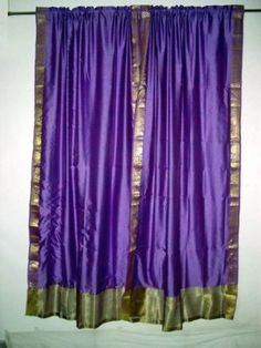 Amazon 2 Purple Art Silk Sari Drapes Curtains Panels Window Treatment Rod Pocket