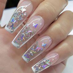 Clear Acrylic Nails, Bling Acrylic Nails, Acrylic Nails Coffin Short, Summer Acrylic Nails, Glitter Nails, Colored Acrylic Nails, Coffin Shape Nails, Summer Nails, Ongles Bling Bling