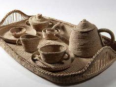 Ann Nazareth - Tea for One Woven with paper cord and cane 49 x 32 x H Weaving Art, Loom Weaving, Straw Weaving, Tea For One, Textile Fabrics, Jute Twine, Love Craft, Fiber Art, Fiber Fibre