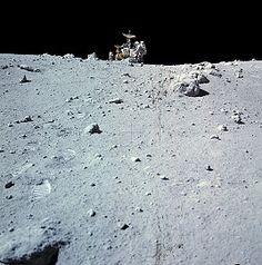 Charlie Duke and LRV at North Ray crater April 1972