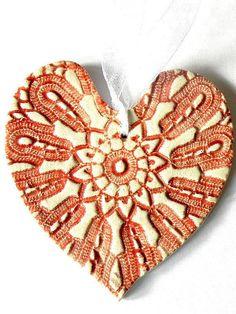 Rustic Red White Ceramic Heart Ornament Decorated by Ceraminic