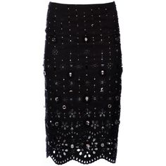 Marc Jacobs Collection Broderie Anglaise Gabardine Pencil Skirt (248.800 RUB) ❤ liked on Polyvore featuring skirts, patterned skirt, black skirt, black knee length skirt, pencil skirt and print pencil skirt