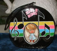 Retro Liddle Kiddles Type 1960's Black Round Purse with Doll - Vintage Sing a Song  Kiddle Clone 1960's -1970's'