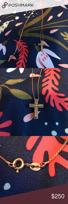 14k Gold Diamond cross pendant and chain In great condition. The chain has been recently repaired. Purchased from local Jewlery store. I thought someone stole it so I purchased another one then I found it smh lol so now I'm going to sell! Just needs to be cleaned. Thanks for viewing feel free to ask questions and make offers! Have a blessed day! ❤️ Jewelry Necklaces