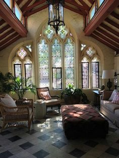 I loveeee the Windows and the cathedral ceiling...I would do wood beams and it would be light...too dark