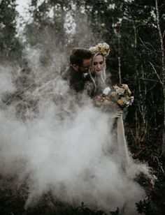 Moody + Masked: Halloween-Worthy Engagement Session in the Woods - Green Wedding Shoes Wedding Photoshoot, Wedding Pics, Fall Wedding, Dream Wedding, Wedding Ideas, Geek Wedding, Wedding Black, Wedding Car, Wedding Shoes