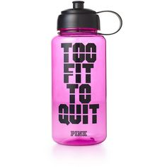 PINK Water Bottle ($15) ❤ liked on Polyvore featuring accessories, food, food and drink, sport, drinks and blue