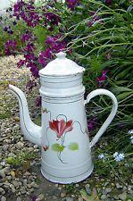Jolie cafetière émaillée ancienne fleurie décor cyclamen bon état