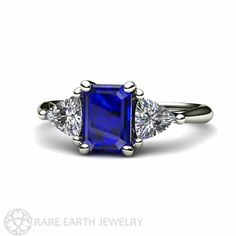 Blue Sapphire Engagement Ring Vintage Blue Sapphire Three Stone Ring by RareEarth, $2374.00