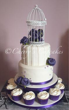 Purple & Ivory Vintage Birdcage wedding cake