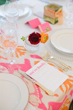 Colorful table: http://www.stylemepretty.com/2015/04/15/bright-colorful-coastal-maine-wedding/ | Photography: Meredith Perdue - http://www.meredithperdue.com/