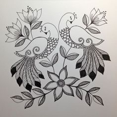 Grand Sewing Embroidery Designs At Home Ideas. Beauteous Finished Sewing Embroidery Designs At Home Ideas. Art Drawings Sketches Simple, Bird Drawings, Pencil Art Drawings, Peacock Drawing, Peacock Art, Peacock Design, Embroidery Motifs, Hand Embroidery Designs, Vintage Embroidery