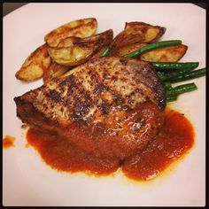 Moroccan Sword Fish with roasted tomato sauce, Yukon gold potato and grean beans.