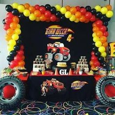 Ideas de Cumpleaños Fiesta Blaze the Monster Machine Hot Wheels Party, Festa Hot Wheels, Hot Wheels Birthday, Festa Monster Truck, Monster Trucks, Monster Truck Birthday, Blaze And The Monster Machines Party, Blaze The Monster Machine, Cars Birthday Parties