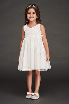 Dotted point d'esprit tulle and a flower-topped grosgrain sash makes the sweet silhouette of this ruched-bodice flower girl dress even sweeter. Sash included Polyester Back zipper; fully lined Dry clean Imported Flower Girl Outfits, Flower Girls, Wedding Outfit For Boys, Wedding Goals, Wedding Ideas, Fall Wedding, Rustic Wedding, Wedding Planning, Bridesmaid Flowers