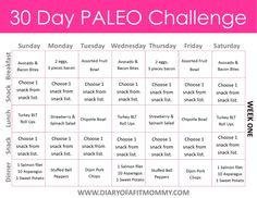 Diary of a Fit Mommy 30 Day Paleo Challenge. Come with free meal plan printables! Menu Paleo, Menu Dieta Paleo, Paleo Snack, Paleo Meal Plan, Paleo Recipes, Paleo Dinner, Paleo Diet Rules, Paleo Breakfast, Paleo Food List