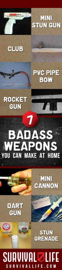 7 Badass Weapons You Can Make at Home No Arsenal is Complete Without These DIY Survival Weapons Want to make some awesome homemade weapons? In a SHTF situation, you're likely going to need a way to p(Primitive Camping Hacks) Survival Weapons, Apocalypse Survival, Survival Life, Homestead Survival, Wilderness Survival, Survival Tools, Camping Survival, Outdoor Survival, Survival Prepping