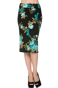 Black pencil skirt with turquoise colored flowers throughout.    Floral Pencil Skirt  by Azules. Clothing - Skirts - Pencil Pennsylvania