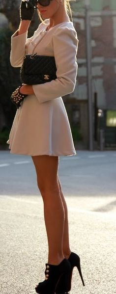 #street #style #casual #outfits #spring #outfit #ideas |Beautiful cream coat dress and studded gloves