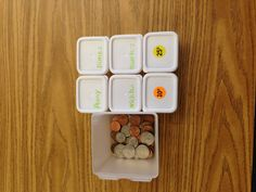 fine motor (could use tongs), sorting, beginning math/money skills