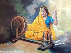 Beautiful Indian Girl Paintings Spinning Charkha