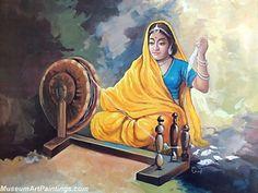 Beautiful Indian Girl Paintings Spinning Charkha