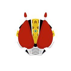 Vector style illustration of Heisei Kamen Riders from Japanese tokusatsu TV show.