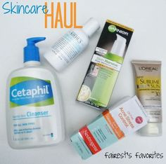 Skincare Haul Cetaphil Cleanser, Kiehl's Eye Makeup Remover, Garnier Skin Renew, L'Oreal Sublime Sunscreen, Neutrogena Acne Stress Contol 3 in 1 Treatment