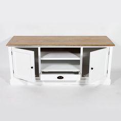 Meuble TV en bois crème L 118 cm   lustre et idée salon-salle à ...