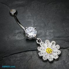 Tiffany Cutesy Daisy Belly Button Ring