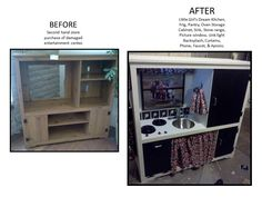 DIY Before: upcycled Entertainment Center to a little girl's kitchen.
