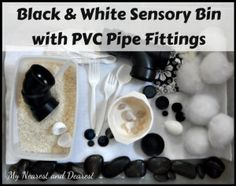 Black and White Sensory Bin with PVC Pipe Fittings