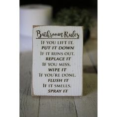 Shop for Farmhouse Bathroom Signs Get free delivery On EVERYTHING* Overstock - Your Online Art Gallery Store! Bathroom Rules, White Bathroom, Small Bathroom, Bathroom Ideas, Bathroom Styling, Bathroom Interior Design, Kitchen Rules, Elegant Curtains, Typography Prints