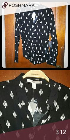 Black tribal printed blouse Super soft, pretty button down black blouse with tribal print, size medium; brand new with tags... open to all offers on items listed in my closet Forever 21 Tops