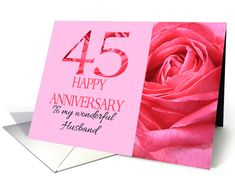 45th Anniversary to Husband Pink Rose Close Up card Happy Anniversary Cards, Wedding Cards, Close Up, Greeting Cards, Husband, Rose, Pink, Wedding Ecards, Roses